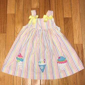 Rare Too Seersucker Rainbow Ice Cream Dress 24 Mon